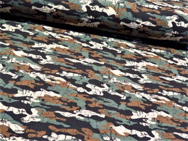 """Sommersweat """"Camouflage"""" grün/braun"""