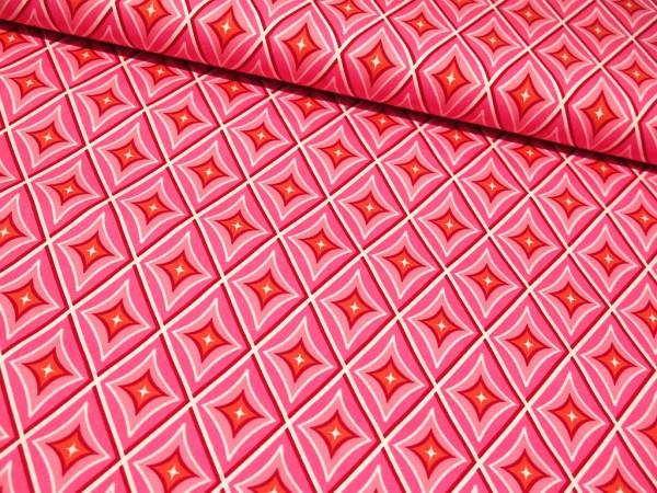 "Baumwollstoff ""Retro Diamond"" rosa"