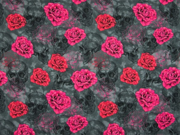 "Baumwolljersey ""Totenkopf-Rosen"" grau/rot/pink"