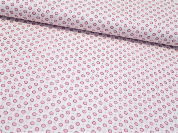 "Baumwollstoff ""mini Mandala"" pink/weiss"