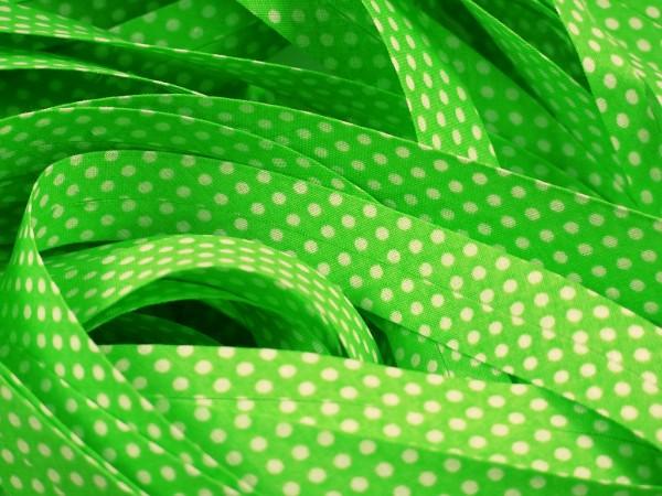 """Baumwoll-Schrägband Dots """"grün"""" 20mm"""