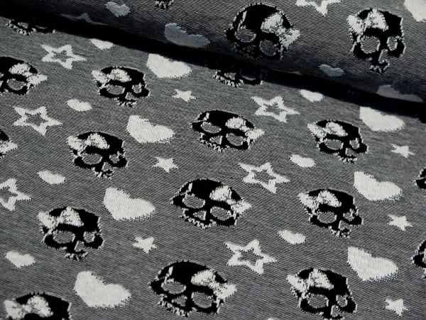 """Jacquardjersey """"Skulls/Totenkopf"""" black"""