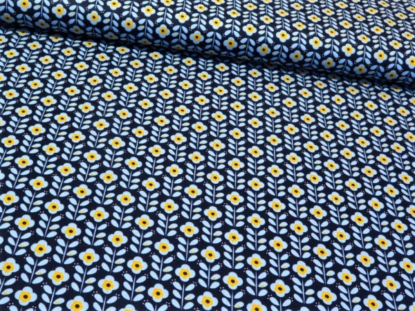 "Baumwollstoff ""Retroflower"" blau-gelb"