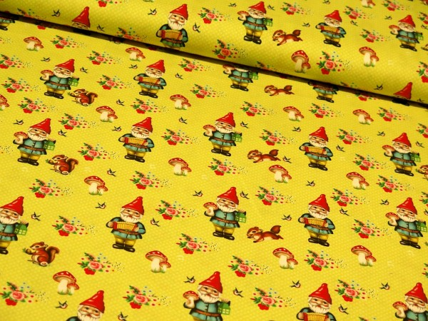 "Baumwollstoff ""Happy Gnome"" gelb"
