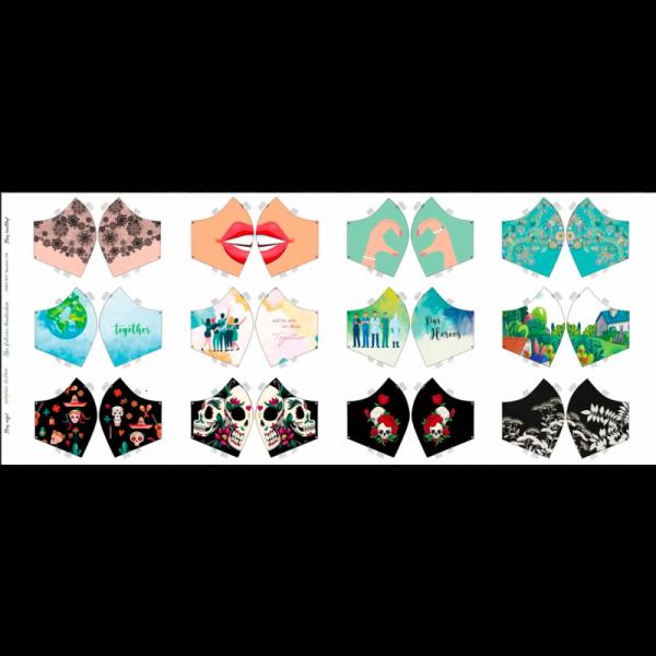 """Baumwollstoff Panel """"Masken"""""""