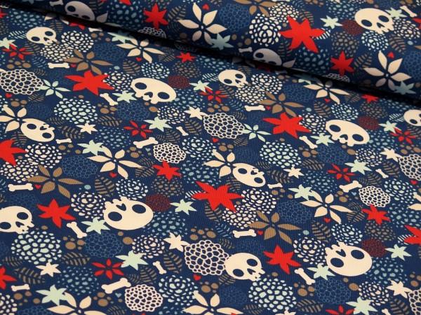 "Baumwolljersey ""Skulls & Flower"" blau"