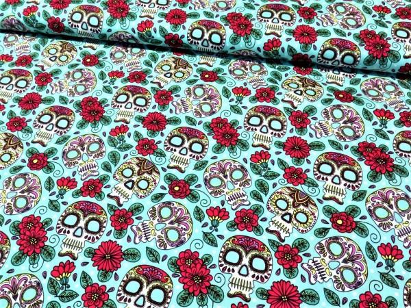 """Baumwollstoff """"mexican skull- Totenkopf"""" mint"""