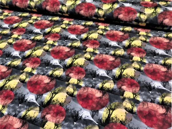 """Baumwolljersey """"Baum Kreise"""" rot gelb"""