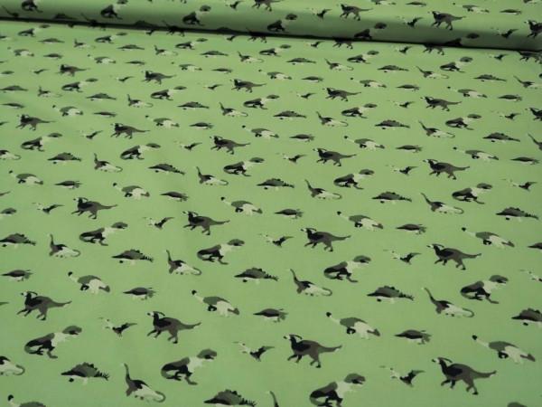 """Baumwoll Popeline """"Dinosaurier"""" grün"""
