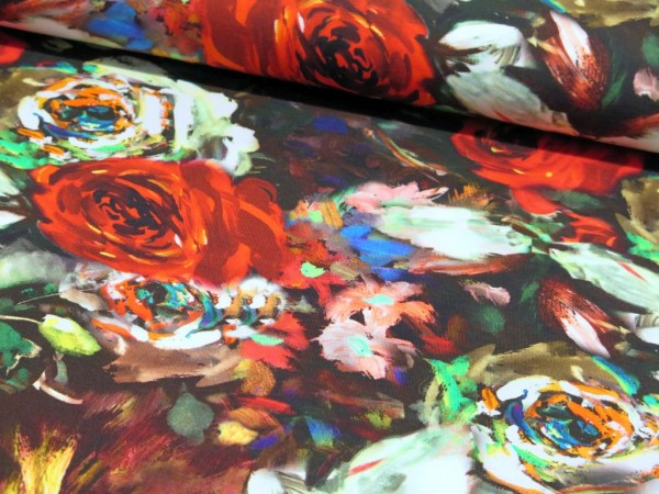 "Baumwolljersey ""Painted Roses"""