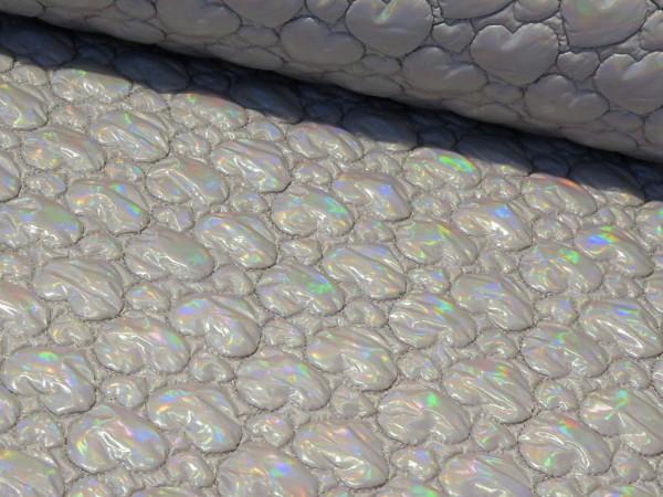 """Steppstoff """"Herz-Seifenblasen"""" grau/regenbogen"""