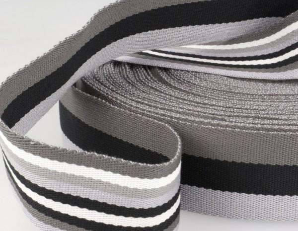 """Gurtband 40mm """"Streifen"""" grau"""