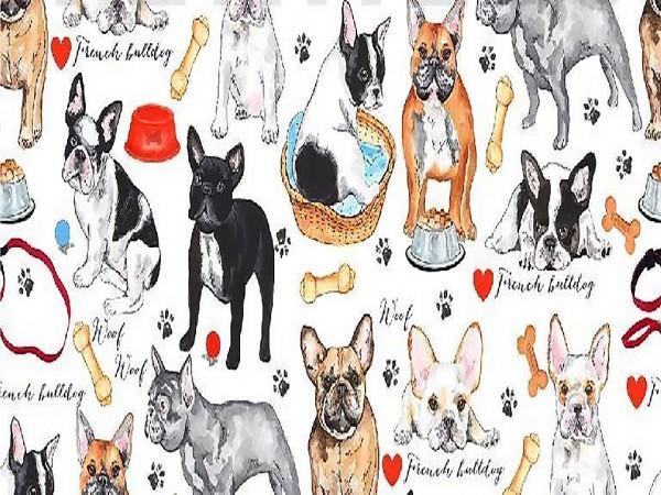 """Canvas Digital """"Puppy Love"""" French Bulldog"""