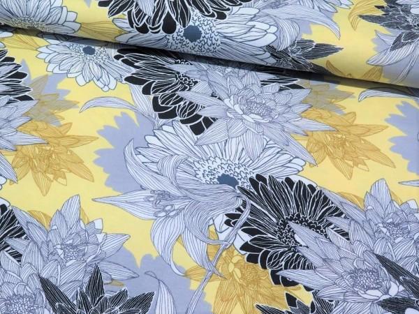 "Viskosejersey ""Chrysantheme"" gelb/grau"