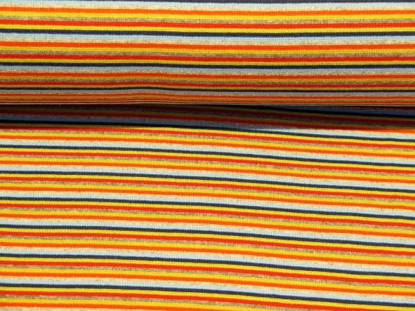 """Bündchen glatt """"Multi Streifen"""" navy/hellblau/orange"""