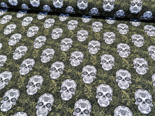 "BIO Sommersweat ""Mex skull"" grün"