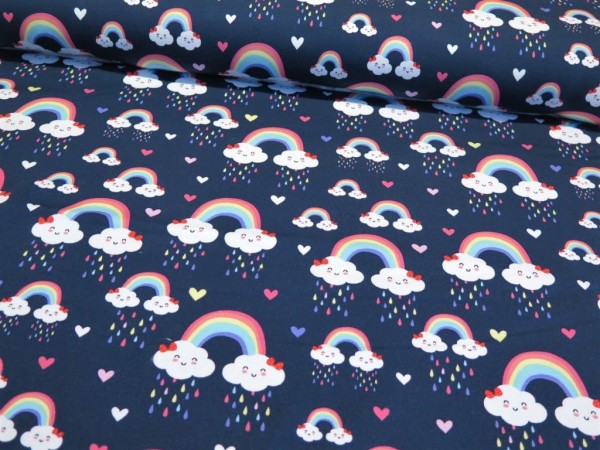 "Kuschelsweat ""Regenbogen"" dunkelblau"