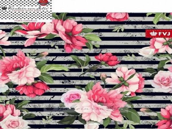 "FVJ Sommersweat ""Flower Stripes"" grau/schwarz"