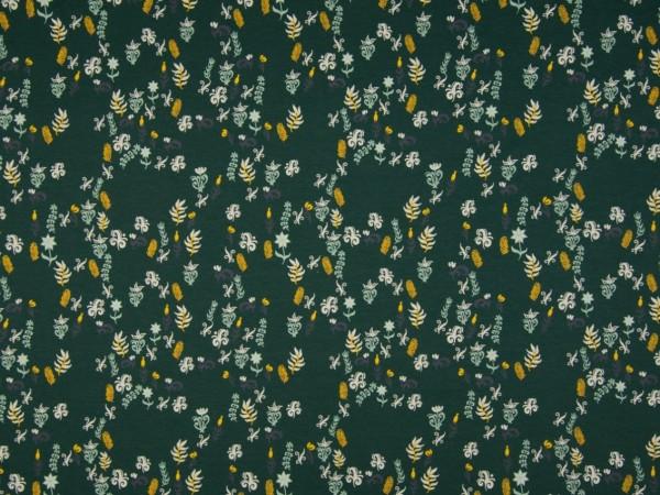 "Baumwolljersey ""Blumen"" dunkelgrün"