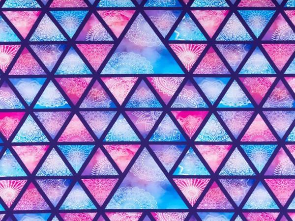 "Baumwolljersey Digital Print ""Mandala Dreiecke"" lila"