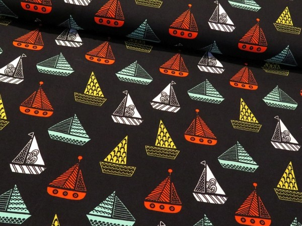 "Baumwolljersey ""Sail away"" navy"
