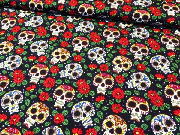"Baumwollstoff ""mexican skull- Totenkopf"" schwarz"