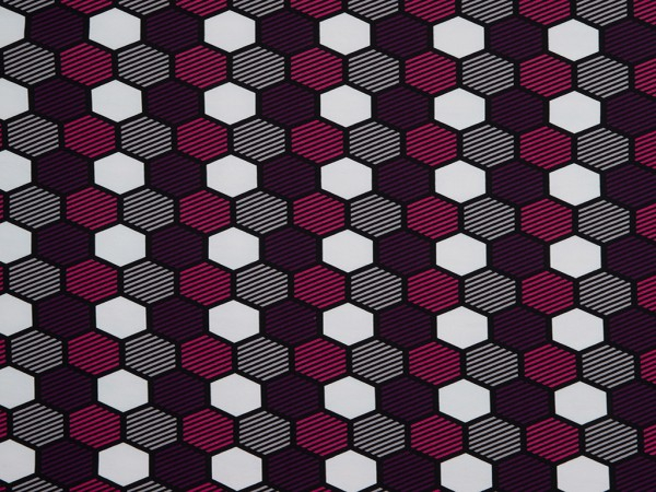 "Kuschelsweat Crazy Shapes by Lycklig ""Waben"" lila/grau/pink"