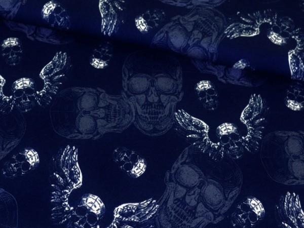 "Kuschelsweat ""Old Skulls/Totenkopf""blau"