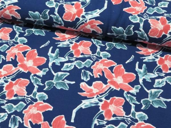 "Sommersweat ""Blume"" blau/koralle"