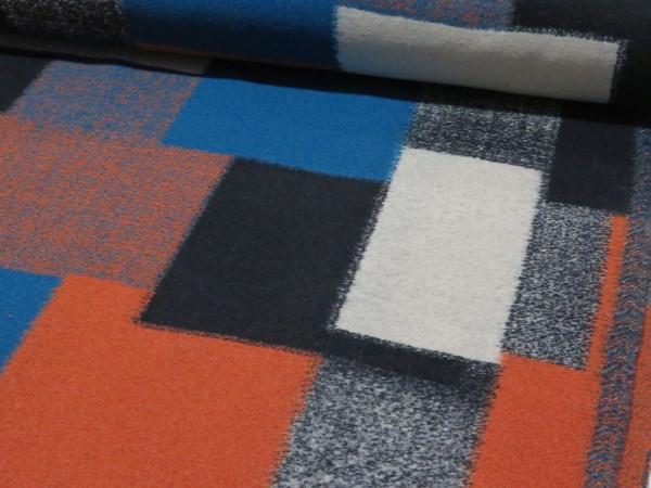 """Wollstoff """"Ecken"""" orange-schwarz-blau"""
