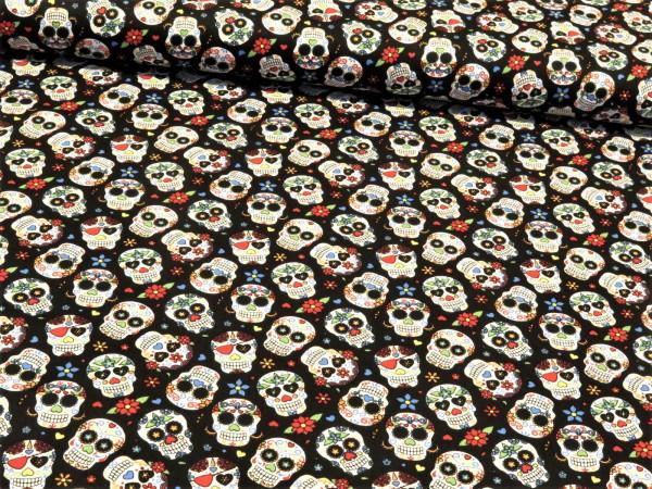 """Baumwollstoff """"mexican skull"""" schwarz"""