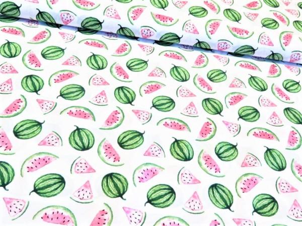 """Baumwollstoff """"Melone"""" weiss"""