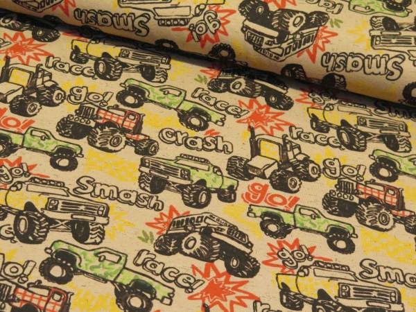"Baumwolljersey ""Traktor Race"" braun"