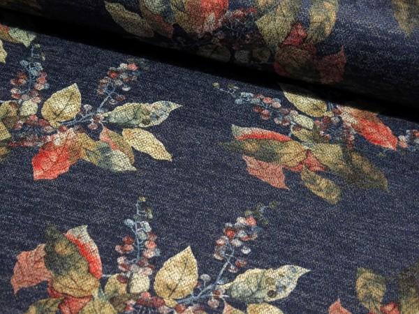 """Strickjersey """"Herbstblätter"""" blau meliert"""