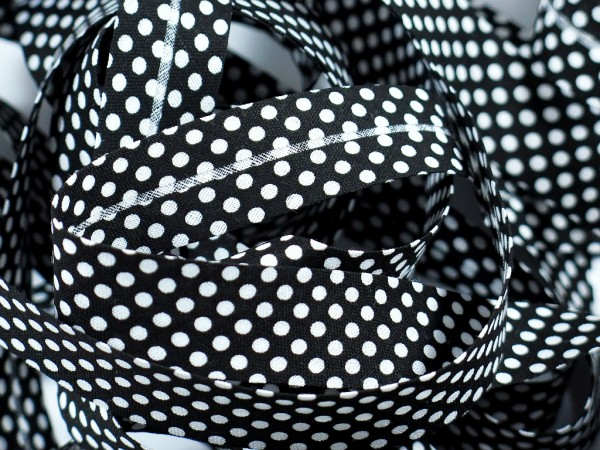 """Baumwoll-Schrägband Dots """"schwarz/weiss"""" 20mm"""