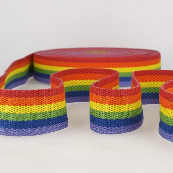 """Gurtband 40mm """"Streifen"""" Regenbogen"""