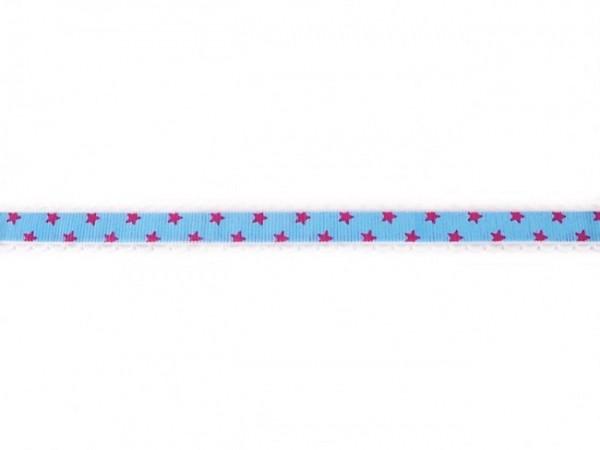 """Ripsband mit Spitze """"Sterne"""" blau"""