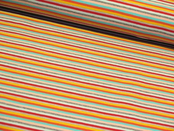 "Baumwolljersey ""Multi Streifen"" lachs/mint/grau"