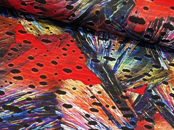 "Lochjersey ""Abstrakt"" rot/blau"