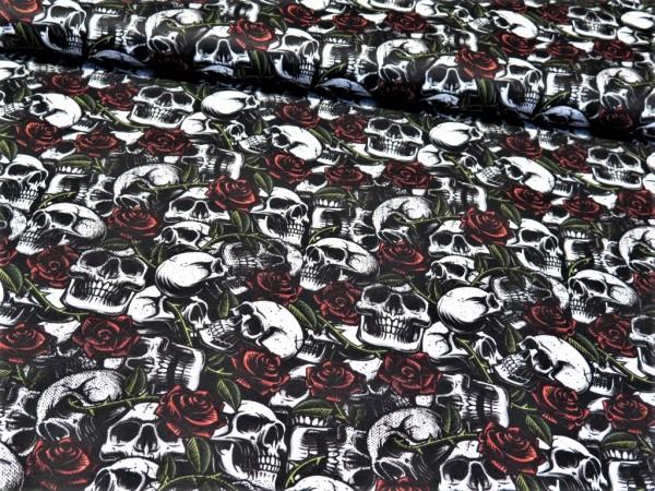"Baumwollstoff ""Skull&Roses"" schwarz"
