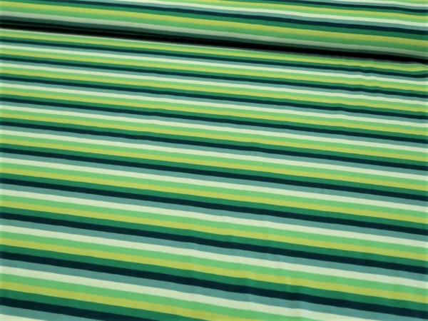 "Baumwolljersey ""Streifen"" petrol-grün-lime"