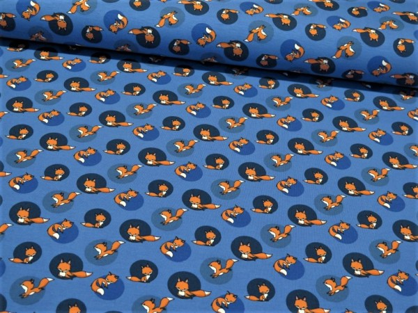 "Baumwolljersey ""Dots&Fox"" blau"