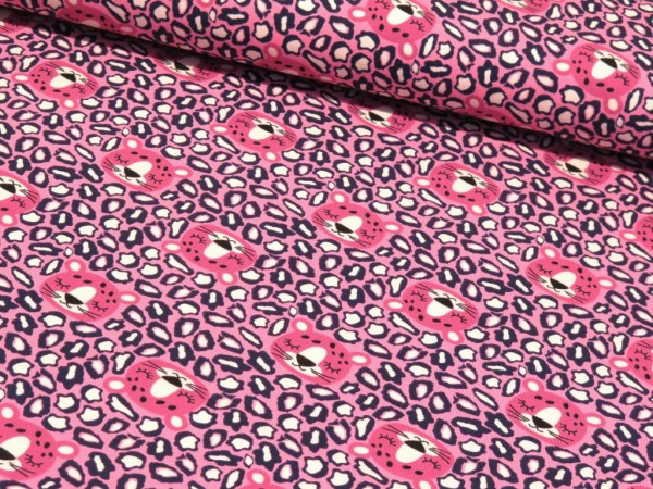 "Baumwolljersey ""Tiger Face"" pink"