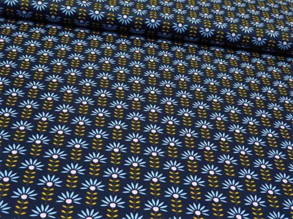 """Baumwollstoff """"Retroflower"""" dunkelblau"""