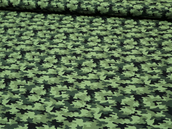 """Baumwoll Popeline """"Camouflage-Dinosaurier"""" grün"""