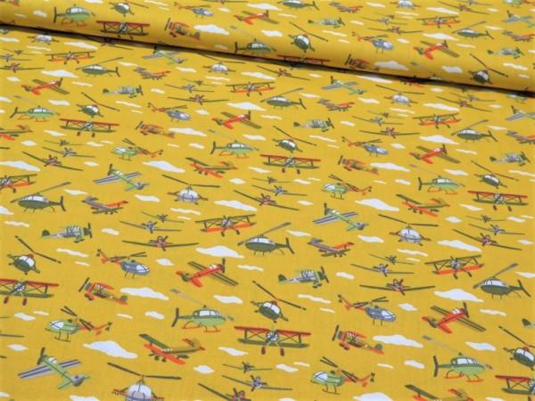 """Baumwollstoff """"Flugzeuge"""" gelb"""