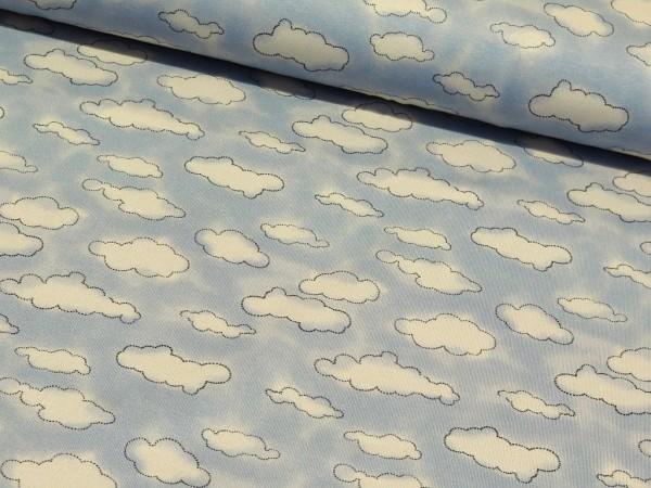 """Baumwolljersey Mini Winter """"Wolken"""" blau"""