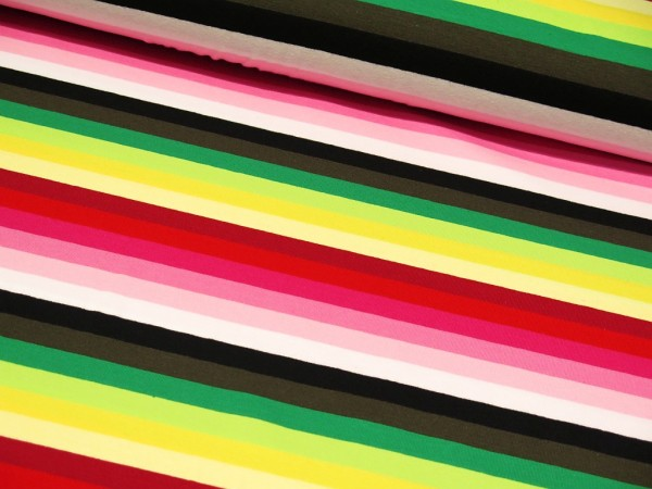 "Baumwolljersey ""Strips Multi"" grün/rot/pink"