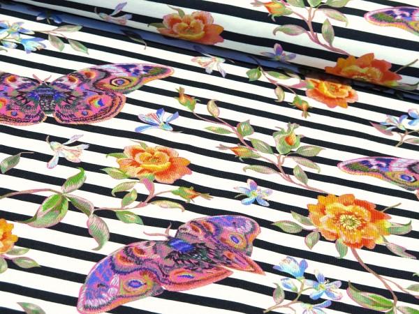 """Baumwolljersey """"Stripes,Flowers & Butterfly"""" dunkelblau"""