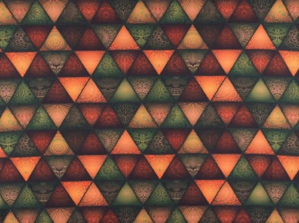 "Baumwolljersey ""Dreiecke Mandala"" rost/grün"